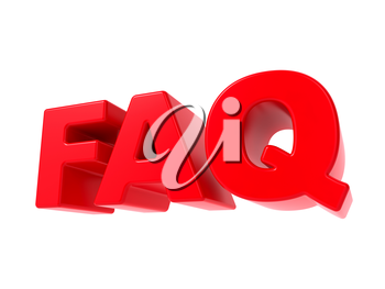 FAQ - Red 3D Text. Isolated on White Background.