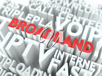 Broadband - Wordcloud Internet Concept. The Word in Red Color, Surrounded by a Cloud of Words Gray.