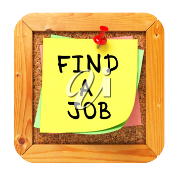 Find a Job, Yellow Sticker on Cork Bulletin or Message Board. Business Concept. 3D Render.