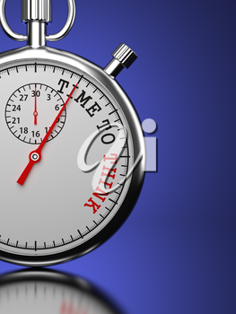 Time To Think. Business Concept. Stopwatch with Time To Think slogan on a blue background. 3D Render.