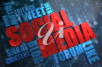 Social Media - Wordcloud Concept. The Word in Red Color, Surrounded by a Cloud of Blue Words.