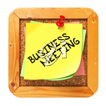 Business Meeting, Yellow Sticker on Cork Bulletin or Message Board. Business Concept. 3D Render.