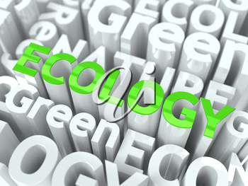 Ecology Green Word. Inscription of Green Color Located over Text of White Color.