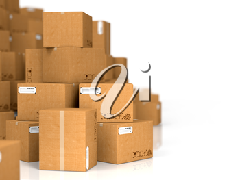 Industrial Background. Cardboard Boxes on White Background.