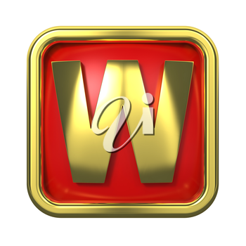 Gold Letter W on Red Background with Frame.