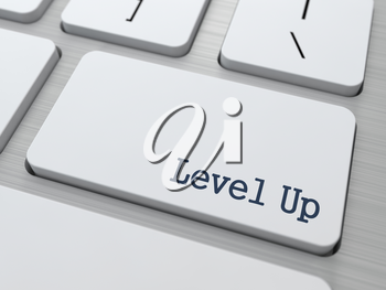 Development Concept. Level Up Button on Modern Computer Keyboard with Word Partners on It.