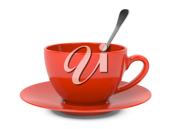 Red Cup with Spoon Isolated on White Background.