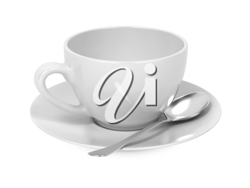 White Cup with Spoon and Saucer Isolated on White Background.
