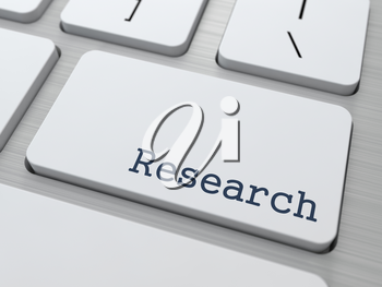 Research Concept. Button on Modern Computer Keyboard with Word Research on It.