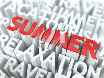 Summer Concept. The Word of Red Color Located over Text of White Color.