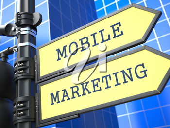 Business Concept. Mobile Marketing Sign on Blue Background.