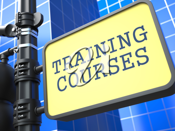 Education Concept. Training Courses Roadsign on Blue Background.