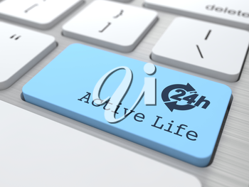 Lifestyle Concept - The Blue Active Life Button on Modern Computer Keyboard. 3D Render.