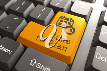 Time to Plan - Orange Button on Computer Keyboard. Business Concept.