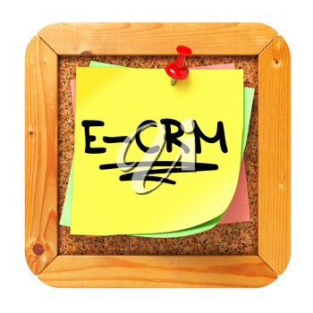 E-CRM, Yellow Sticker on Cork Bulletin or Message Board. Information Technology Concept. 3D Render.