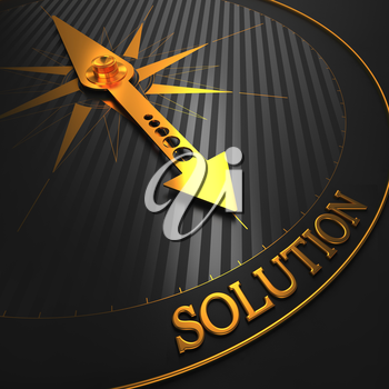 Solution - Business Background. Golden Compass Needle on a Black Field Pointing to the Word Solution. 3D Render.