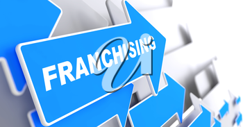 Franchising - Business Background. Blue Arrow with Franchising Slogan on a Grey Background. 3D Render.
