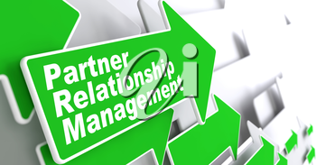 Partner Relationship Management Concept. Green Arrow with Partner Relationship Management Slogan on a Grey Background. 3D Render.