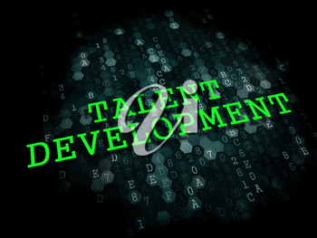 Talent Development. Business Educational Concept. The Word in Light Green Color on Dark Digital Background.