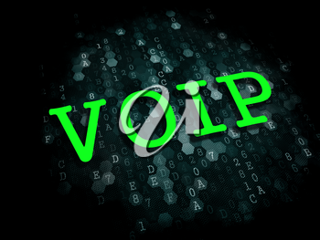 VOIP - Information Technology Concept. The Word in Green Color on Digital Background.