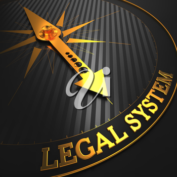 Legal System - Business Background. Golden Compass Needle on a Black Field Pointing to the Word Legal System. 3D Render.