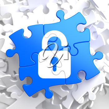 Security Concept - Icon of Opened Padlock - Located on Blue Puzzle Pieces.