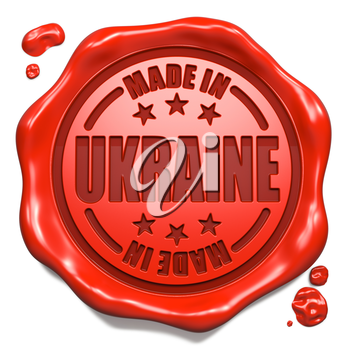 Made in Ukraine - Stamp on Red Wax Seal Isolated on White. Business Concept. 3D Render.