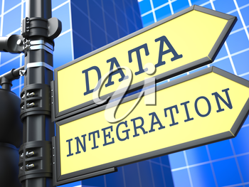 Data Integration Words on Yellow Roadsign on Blue Urban Background. Information Concept.