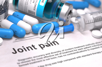 Joint Pain - Printed Diagnosis with Blue Pills, Injections and Syringe. Medical Concept with Selective Focus. 3d Render.