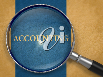 Accounting Concept through Magnifier on Old Paper with Dark Blue Vertical Line Background. 3d Render.