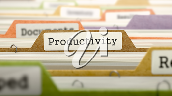 Productivity on Business Folder in Multicolor Card Index. Closeup View. Blurred Image. 3d Render.