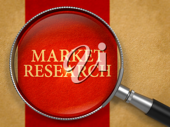 Market Research Concept through Magnifier on Old Paper with Crimson Vertical Line Background. 3D Render.