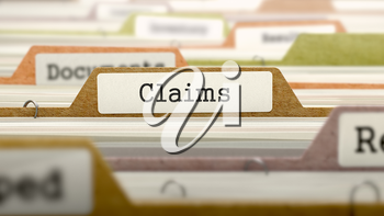File Folder Labeled as Claims in Multicolor Archive. Closeup View. Blurred Image. 3D Render.