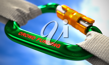 Green Carabine with White Ropes on Sky Background, Symbolizing the Crowd Funding. Selective Focus. 3D Render.