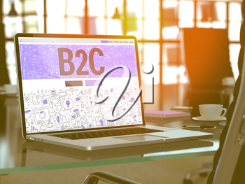 B2C - Business to Consumer - Concept Closeup on Landing Page of Laptop Screen in Modern Office Workplace. Toned Image with Selective Focus. 3d Render.