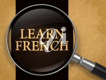 Learn French through Lens on Old Paper with Black Vertical Line Background. 3D Render.