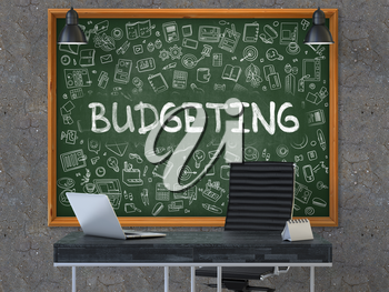 Budgeting - Hand Drawn on Green Chalkboard in Modern Office Workplace. Illustration with Doodle Design Elements. 3D.