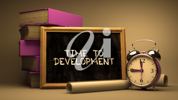 Hand Drawn Time to Development Concept  on Chalkboard. Blurred Background. Toned Image. 3D Render.