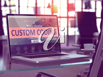 Custom Coding Concept. Closeup Landing Page on Laptop Screen  on background of Comfortable Working Place in Modern Office. Blurred, Toned Image. 3D Render.
