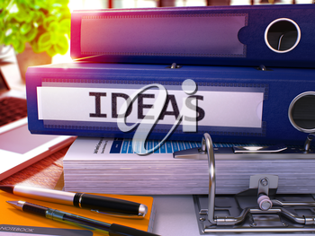 Blue Office Folder with Inscription Ideas on Office Desktop with Office Supplies and Modern Laptop. Ideas Business Concept on Blurred Background. Ideas - Toned Image. 3D.