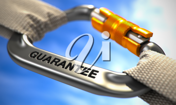 Chrome Carabine with White Ropes on Sky Background, Symbolizing the Guarantee. Selective Focus. 3D Render.