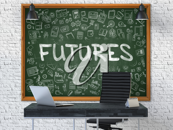 Futures Concept Handwritten on Green Chalkboard with Doodle Icons. Office Interior with Modern Workplace. White Brick Wall Background. 3D.