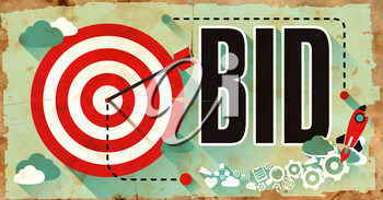 Bid Concept on Old Poster in Flat Design with Red Target, Rocket and Arrow.