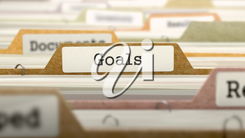 Goals on Business Folder in Multicolor Card Index. Closeup View. Blurred Image. 3D Render.