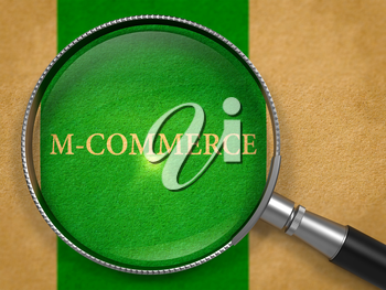 M-Commerce - Mobile Commerce- through Loupe on Old Paper with Green Vertical Line Background. 3D Render.
