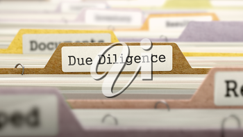 Due Diligence Concept on File Label in Multicolor Card Index. Closeup View. Selective Focus. 3D Render.
