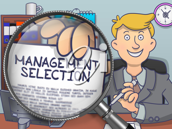 Officeman Holding a Paper with Concept Management Selection. Closeup View through Magnifier. Multicolor Doodle Style Illustration.