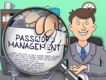 Password Management through Magnifying Glass. Officeman Showing Paper with Concept. Closeup View. Multicolor Doodle Style Illustration.