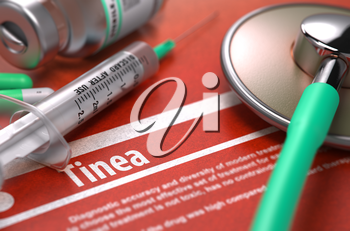 Tinea - Printed Diagnosis on Orange Background with Blurred Text and Composition of Pills, Syringe and Stethoscope. Medical Concept. Selective Focus. 3D Render.