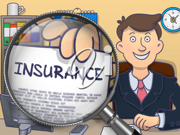 Insurance. Officeman Showing Paper with Text through Magnifying Glass. Colored Doodle Illustration.